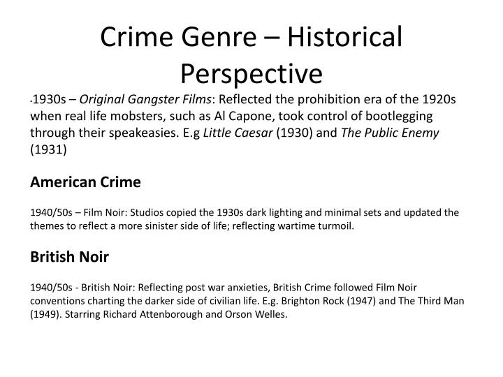 Crime Genre – Historical Perspective