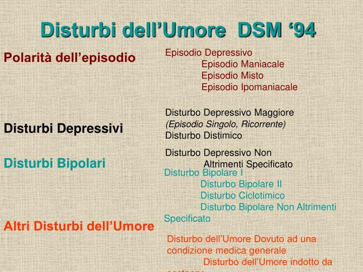 Disturbi dell'Umore  DSM '94