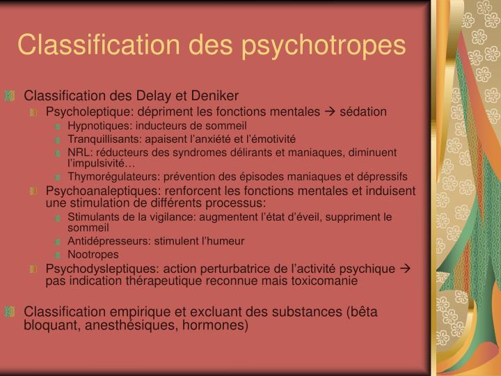 Classification des psychotropes