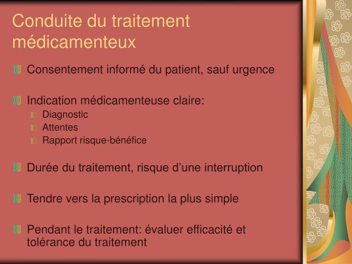 Conduite du traitement médicamenteux