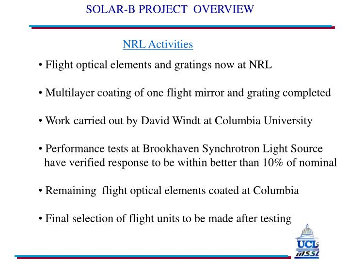 SOLAR-B PROJECT  OVERVIEW