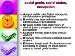 social grade social status occupation