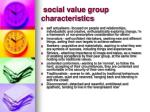 social value group characteristics