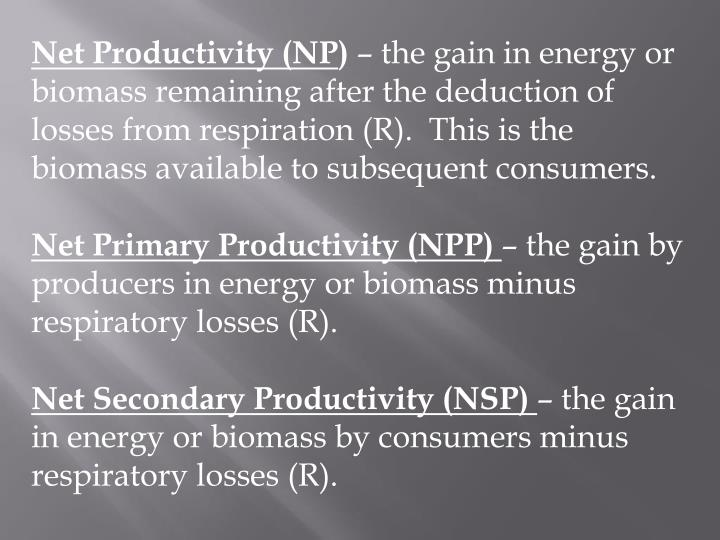 Net Productivity (NP