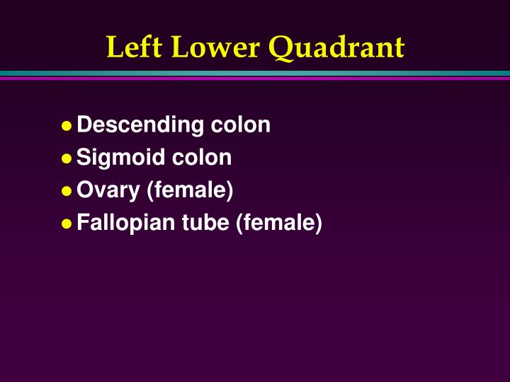 Left Lower Quadrant