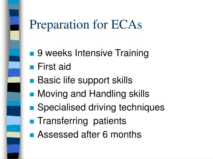 Preparation for ECAs