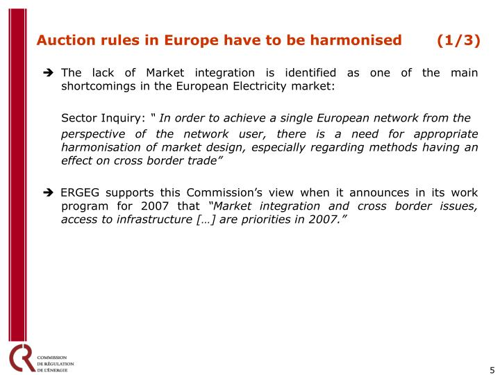 Auction rules in Europe have to be harmonised (1/3)