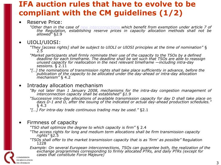 IFA auction rules that have to evolve to be compliant with the CM guidelines (1/2)