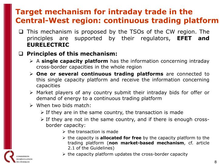 Target mechanism for intraday trade in the Central-West region: continuous trading platform