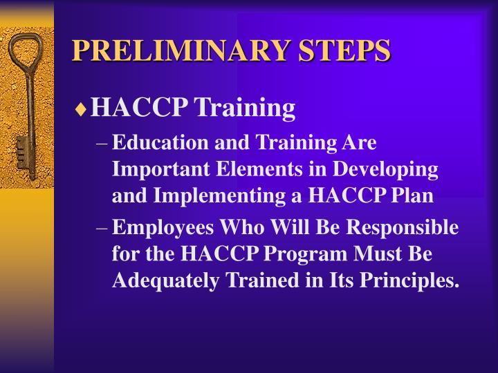 PRELIMINARY STEPS