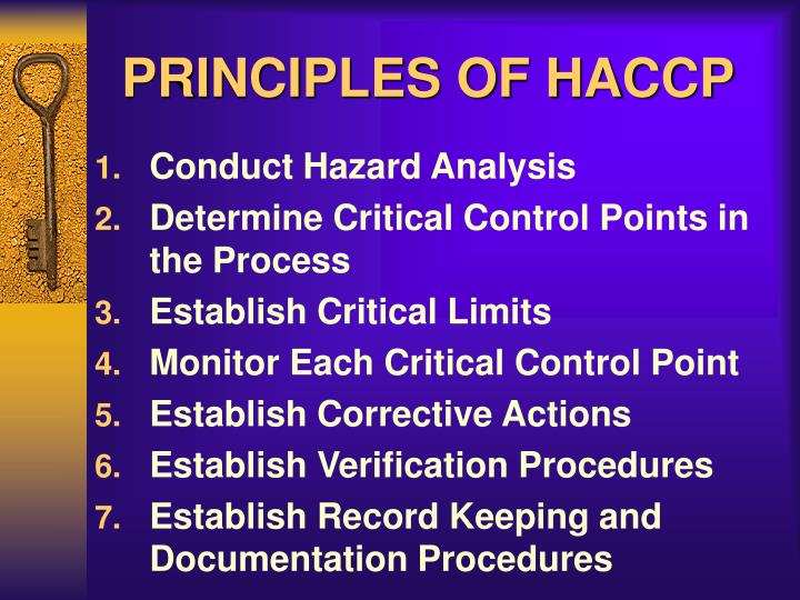 PRINCIPLES OF HACCP