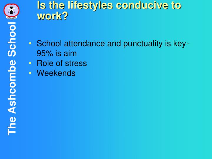 Is the lifestyles conducive to work?