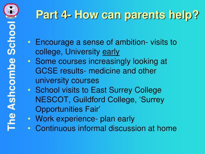 Part 4- How can parents help?
