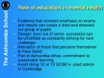 role of education in mental health