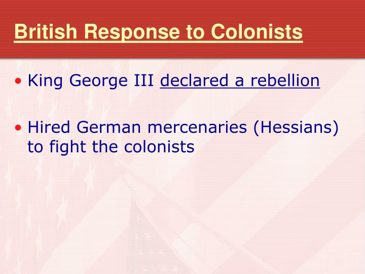 British Response to Colonists