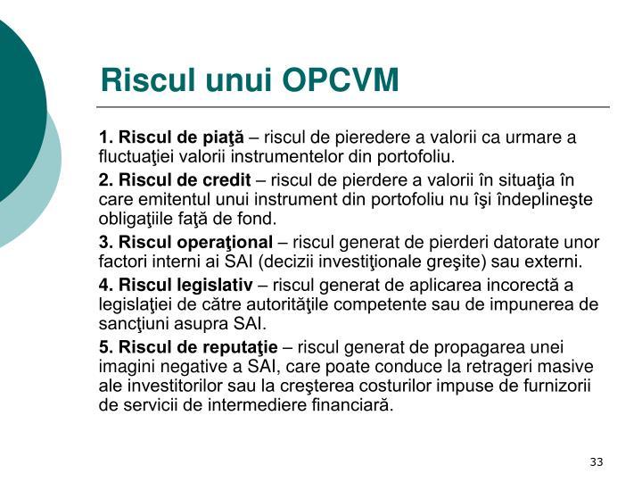 Riscul unui OPCVM