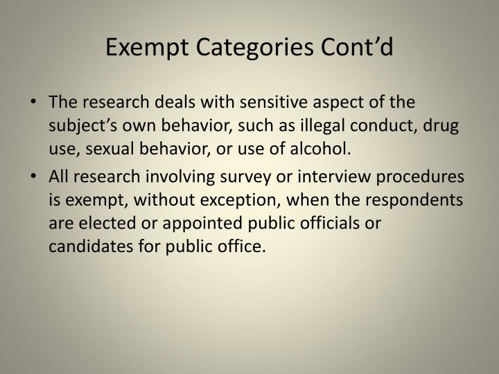 Exempt Categories Cont'd