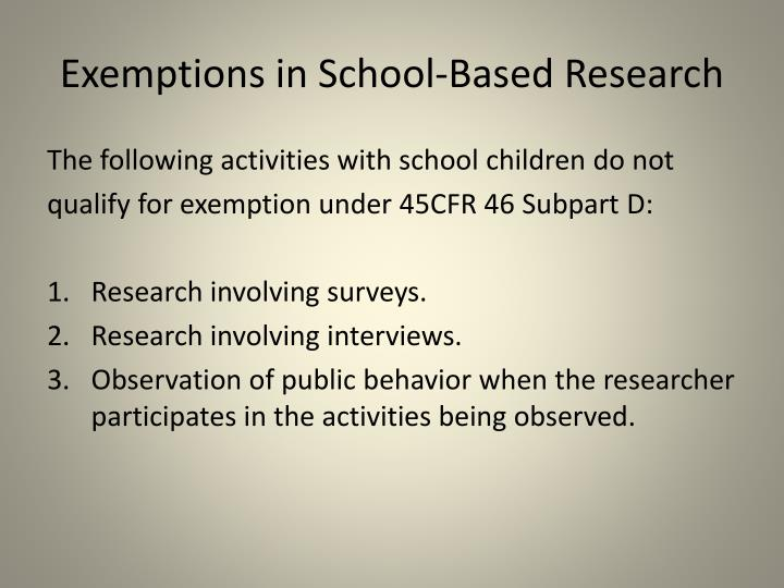 Exemptions in School-Based Research