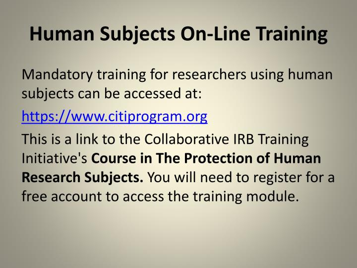 Human Subjects On-Line Training