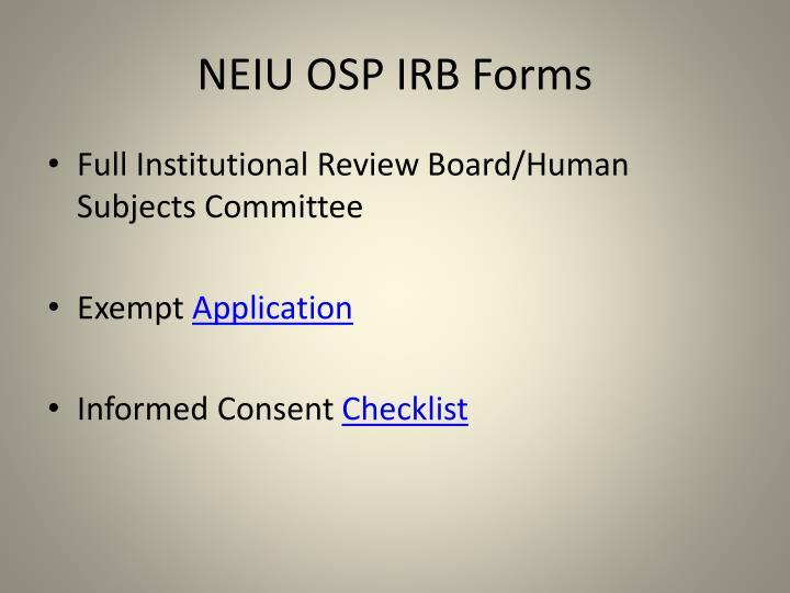 NEIU OSP IRB Forms