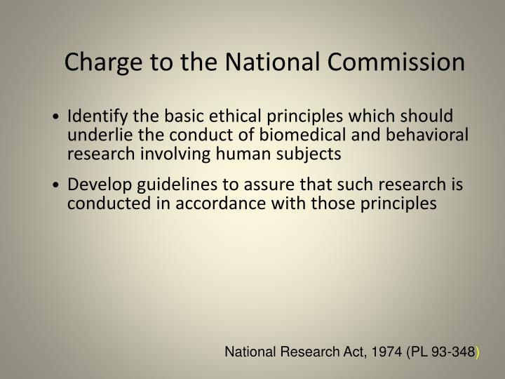 Charge to the National Commission