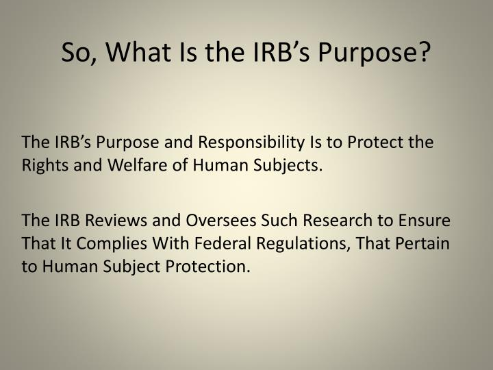 So, What Is the IRB's Purpose?