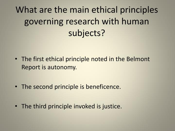 What are the main ethical principles governing research with human subjects?