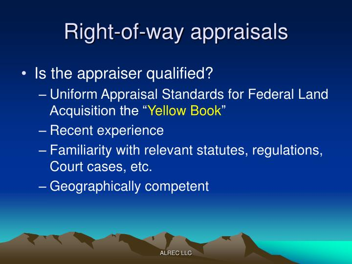 Right-of-way appraisals