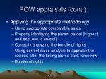 row appraisals cont