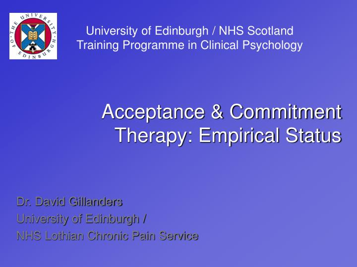 University of Edinburgh / NHS Scotland Training Programme in Clinical Psychology