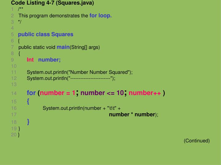 Code Listing 4-7 (Squares.java)