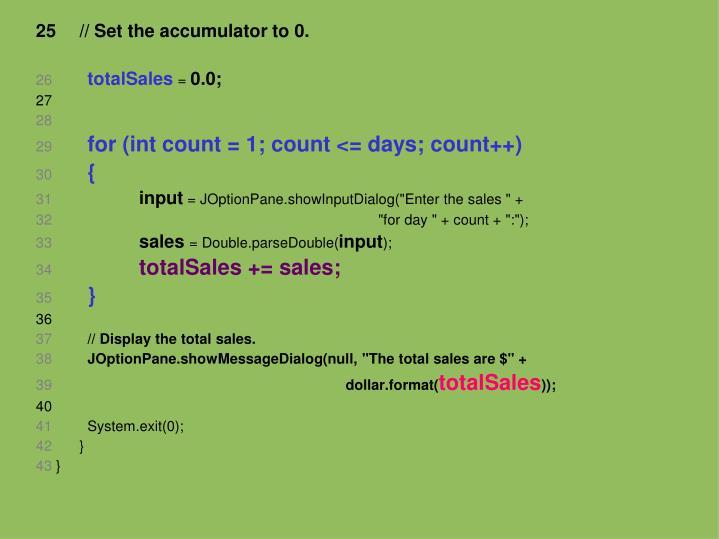 // Set the accumulator to 0.