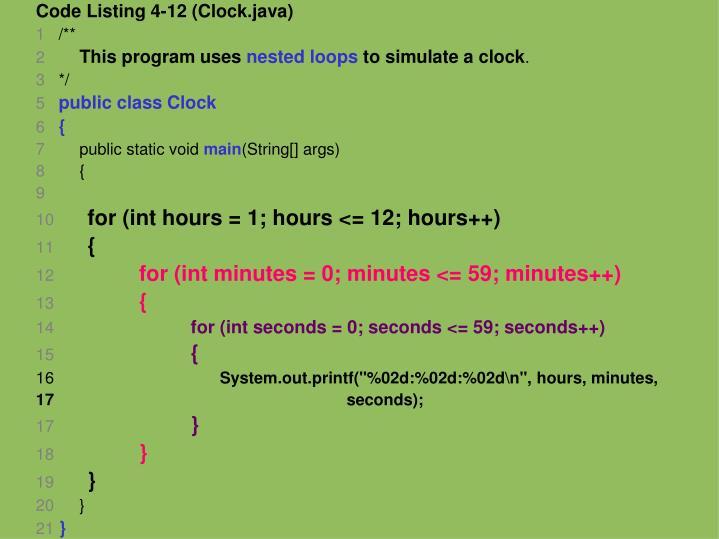 Code Listing 4-12 (Clock.java)