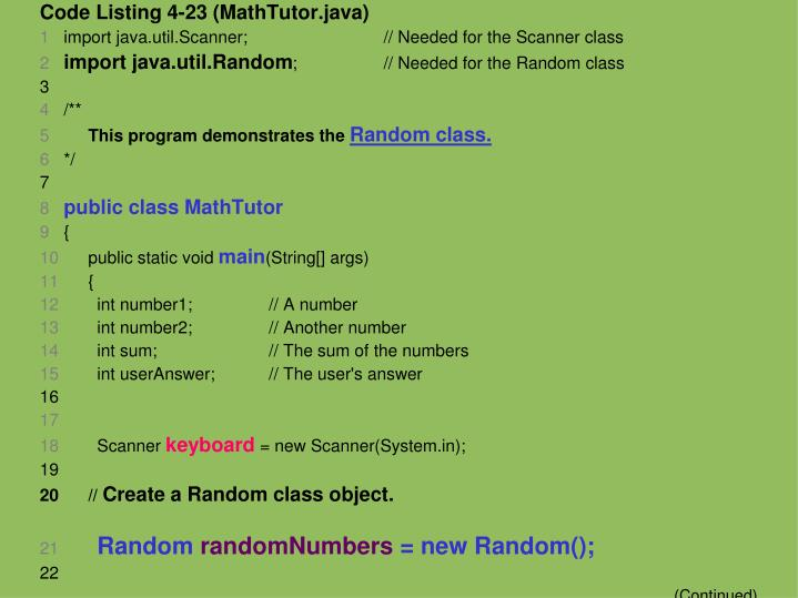 Code Listing 4-23 (MathTutor.java)