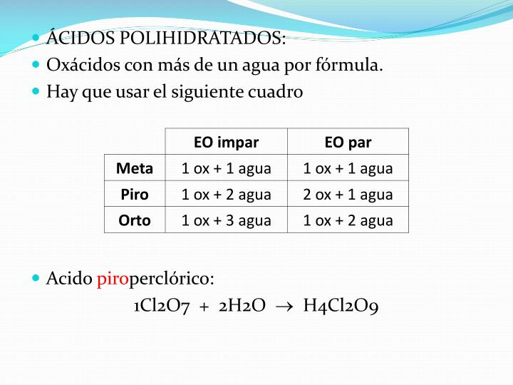 ÁCIDOS POLIHIDRATADOS: