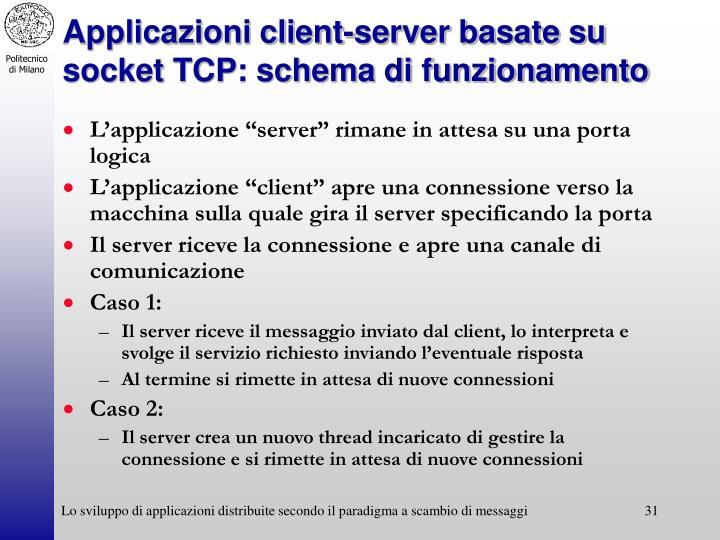 Applicazioni client-server basate su socket TCP: schema di funzionamento