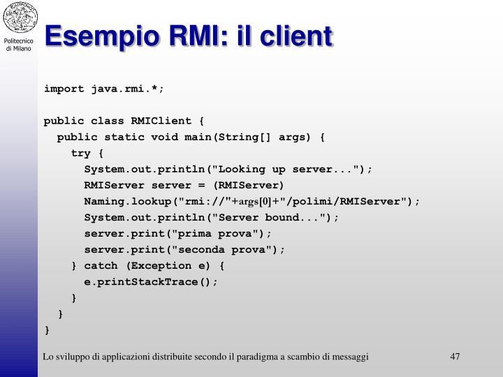Esempio RMI: il client