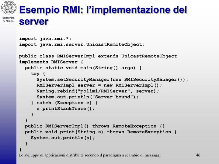 Esempio RMI: l'implementazione del server
