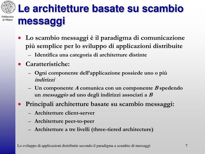 Le architetture basate su scambio messaggi