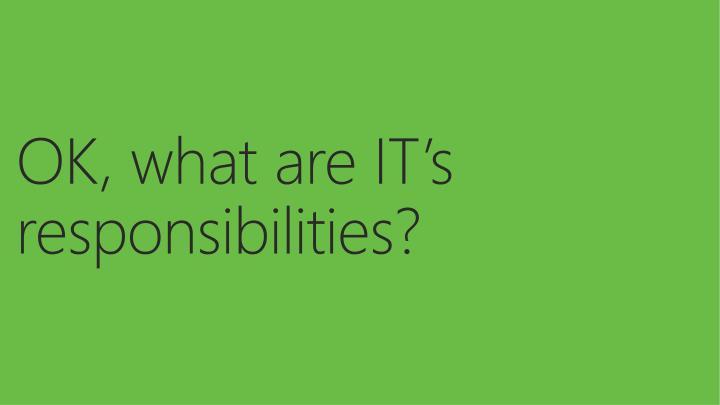 OK, what are IT's responsibilities?