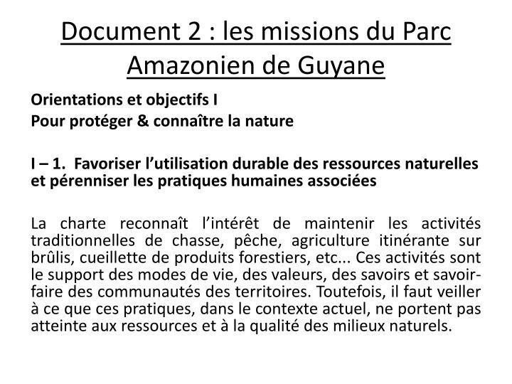 Document 2: les missions du Parc Amazonien de