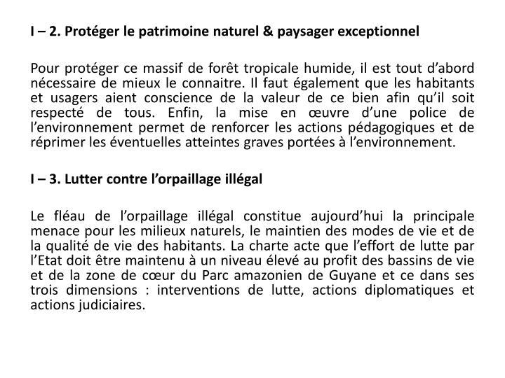 I – 2. Protéger le patrimoine naturel & paysager
