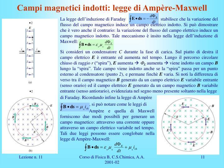 Campi magnetici indotti: legge di Ampère-Maxwell