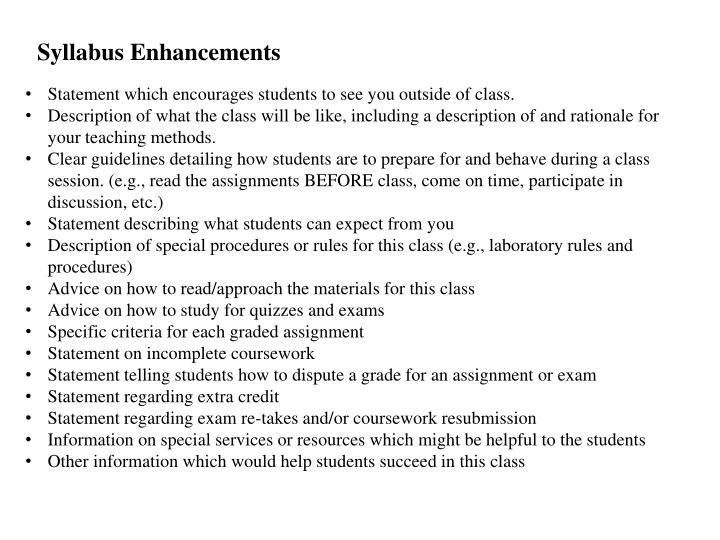 Syllabus Enhancements