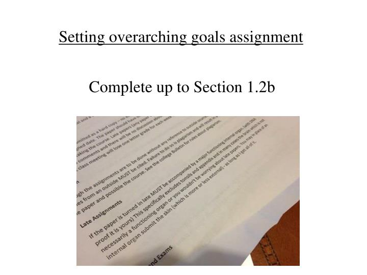Setting overarching goals assignment