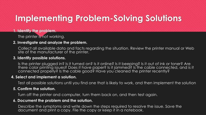 Implementing Problem-Solving Solutions