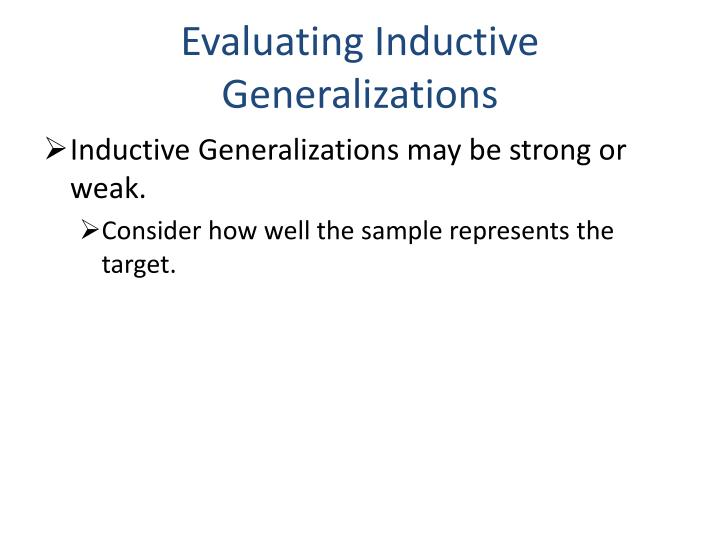 Evaluating Inductive Generalizations