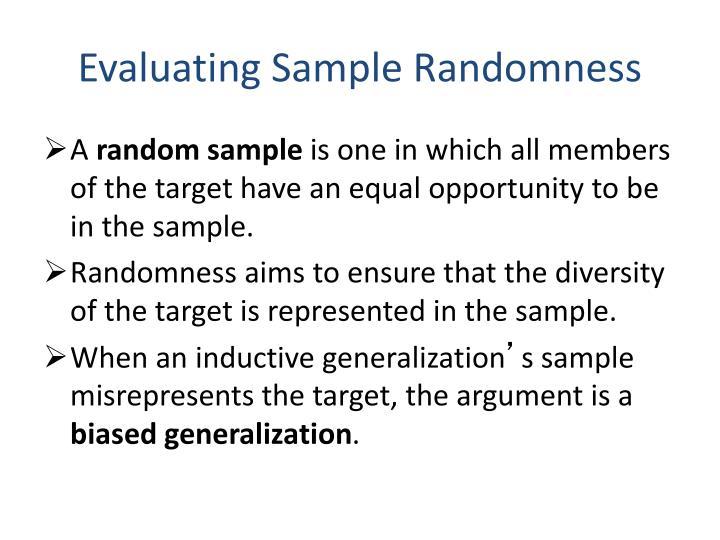 Evaluating Sample Randomness