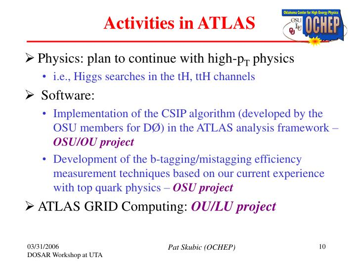 Activities in ATLAS