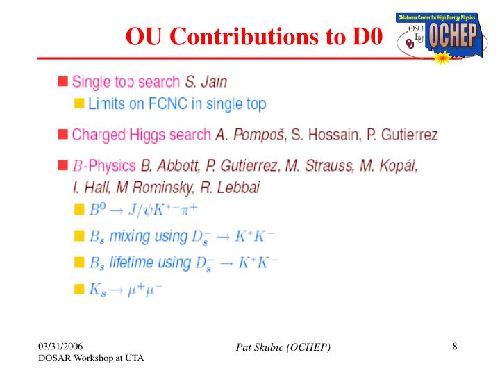 OU Contributions to D0